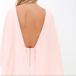 Lulu's Dresses - Pink Backless Cape Dress